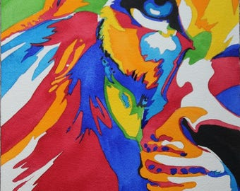 the king of the jungle, lion multicolored watercolor