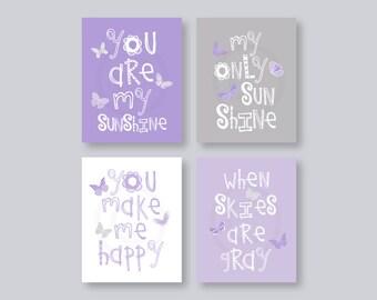 Butterfly Wall Art Kids, Purple Nursery Decor, Lavender Nursery Art, You Are My Sunshine Art Prints, Purple Gray Set of 4 PRINTS or CANVAS