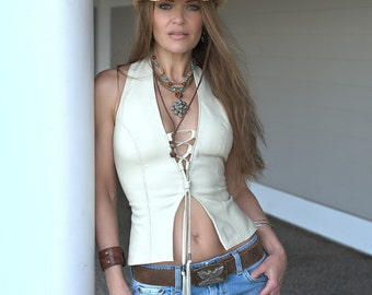 Heaven Leather Halter Top, SHEEPSKIN, Sexy Biker Clothes, Cosplay, Women's Backless Vest, Stage Wear, Motorcycle Leather Clothing, Coachella