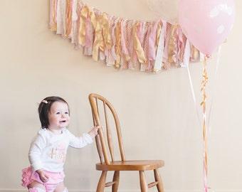 Fabric birthday banner, I am one, birthday photo prop