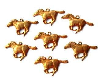 6 Vintage metal finding horse pendant