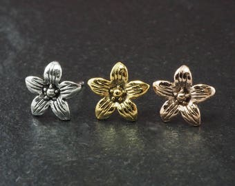 "1 Pair 20 gauge (0.8mm) 925 Sterling Silver Cartilage Earrings Stud Blossom Flower Floral 3/8"" (10mm) Wide"