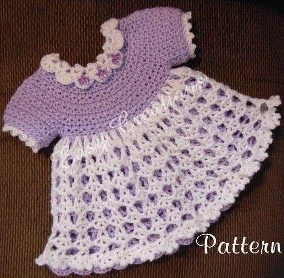 Pdf Crochet Pattern Star Stitch Baby Dress 0 To 6 Months