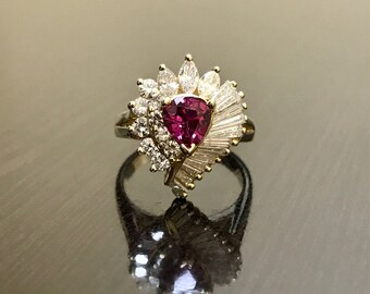 Art Deco Ruby Engagement Ring - 14K Yellow Gold Diamond Ruby Ring - 14K Gold Diamond Ruby Wedding Ring - Ruby Engagement Ring - Diamond Ring