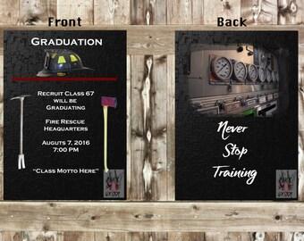 Firefighter Graduation Announcement Invitation