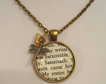 Sassenach Pendant Necklace - Outlander Inspired - Dragonfly in Amber
