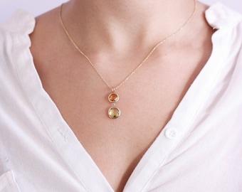 Citrine Necklace, Lemon Quartz Necklace, Gold Citrine Necklace, Mothers Day Gift, Gold Gemstone Necklace, Anniversary Gift, GN0344