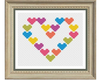 Heart cross stitch pattern downloadable pdf