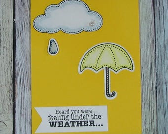 Handcrafted umbrella Get Well card in yellow--CB81217-14