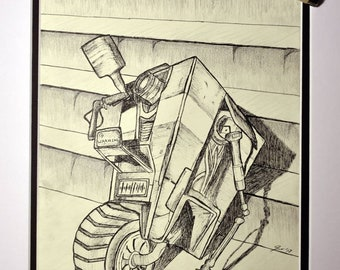 CL4P-TP (Claptrap!) gets stuck at the stairs! Pen and graphite.