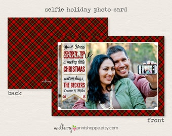Selfie Christmas Card - Printable or Printed Holiday Cards/ Announcement- 2015