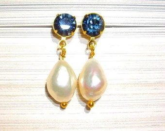 Crystal and Baroque Pearl Ear-bobs