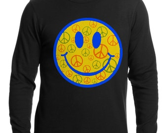Smiley Face Peace Signs All Over Thermal Shirt - #A11710D