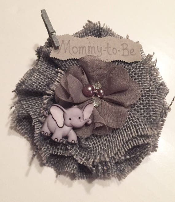 Safari Baby Shower Corsage: Baby Shower Corsage Grey Elephant Mommy-to-Be Corsage Safari