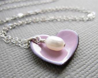Pink Enamel Heart Necklace Pearl Sterling Silver