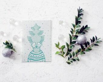 "Hand screen printed ""Christmas elf"" paper postcard (gray+blue)."