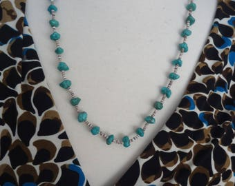 """Vintage Southwestern Sterling Silver Turquoise Nugget and Heishi Necklace, 24.5"""" Long"""