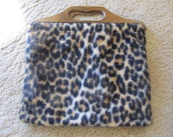 Faux Leopard Skin Hand Bag