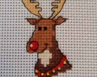 COMPLETED CROSS STITCH - Xmas Reindeer - Ideal for Card Makers