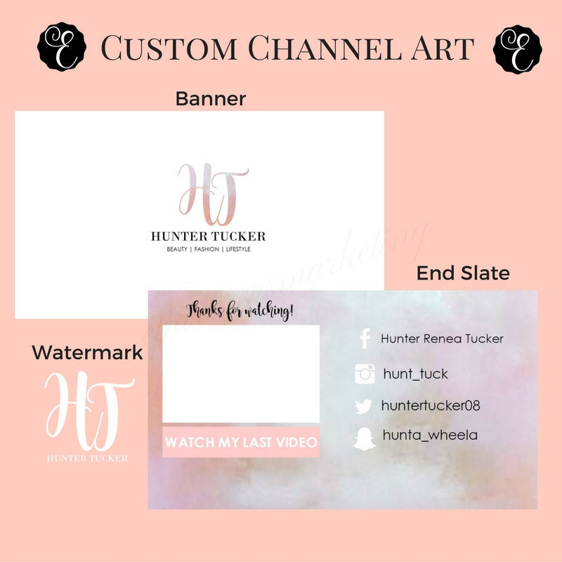 Custom Youtube Channel Design: CUSTOM Youtube Channel Package Youtube Banner Watermark And