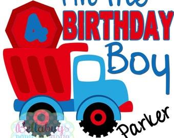 Birthday Boy Construction IRON ON TRANSFER- Personalized Name - Boy Birthday - Tshirts