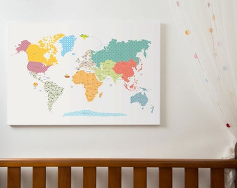 World map wall art, kids world map with countries, world map wall art, nursery decor, world map poster, world map canvas, WM306B,