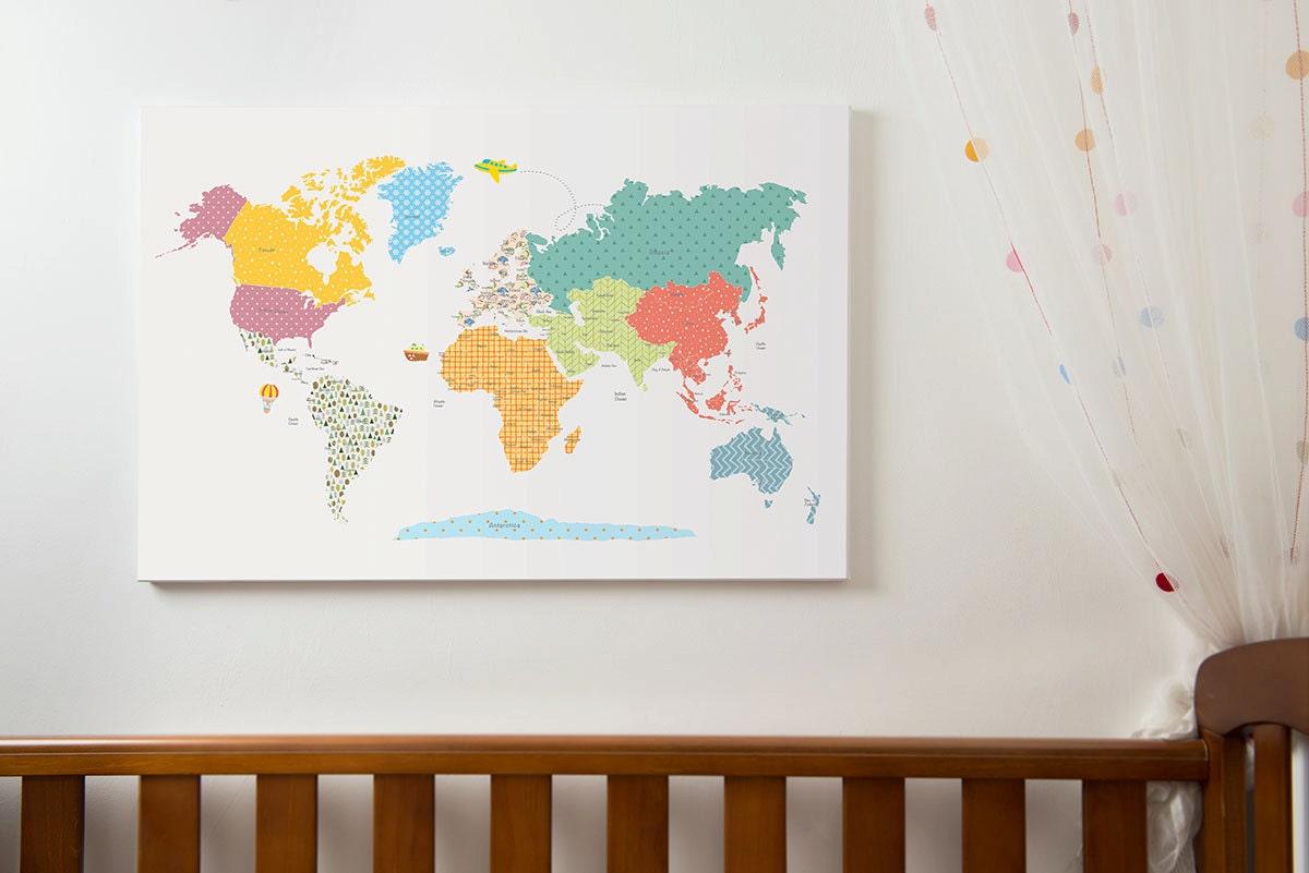 Weltkarte-Wand-Kunst Kinder-Weltkarte mit Ländern Weltkarte