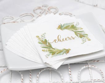 50 Paper Beverage Napkins, 3 Ply Paper Cocktail Napkins, Botanical Swag Watercolor Design, Shiny Metallic Gold Foil Details, Any Occasion