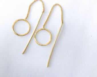 Gold threader earrings, dangle earrings, ear threaders, boho earrings, circle earrings,everyday earrings,minimalist earrings