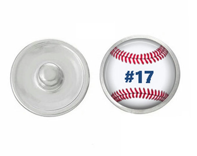 Customize 18mm Baseball Snap - Personalize with Your Child's Baseball Number - Gingersnaps - Ginger Snaps Compatible Snap - Great Gift!