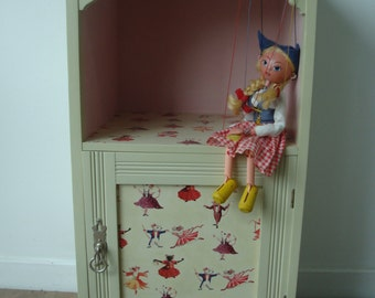 Pale Yellow Child's Bedside Cabinet Decoupaged with Dancing Mice Paper