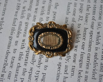 Antique Gold Filled, Black Enamel Mourning Brooch - 1890s Victorian Mourning Brooch, Free Shipping