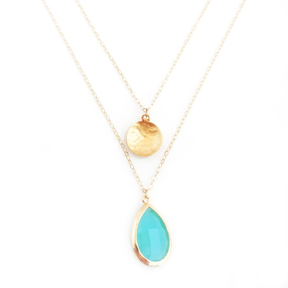 Gold Coin + Turquoise Glass Layer Necklace