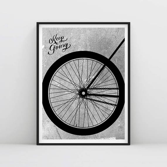 Keep going cycling poster bike poster decor typography