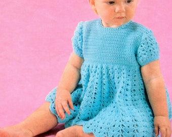 Vintage Crochet Pattern PDF  Baby Dress Lace  4ply