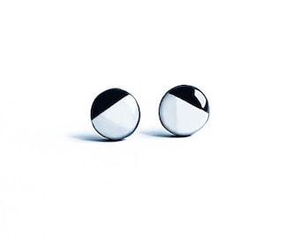 White black post earrings, geometric stud earrings, formal jewelry