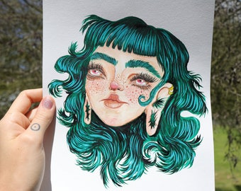 TEAL HAIR Girl A4 Watercolour