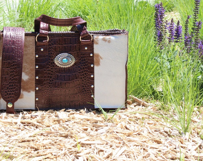 Cowhide and Croco Embossed Leather City Bag