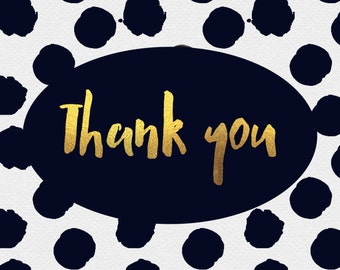 Navy and gold polka dot thank you cards