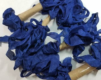 Royal Blue Shabby RIBBON crinkled vintage seam binding