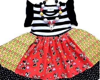 Minnie Mouse Disney dress, Minnie toddler birthday dress girls Disney clothing necklace  red yellow black Momi boutique custom girls dress