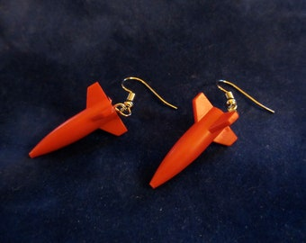 Red Rocket Ship Game Pieces Dangle Earrings