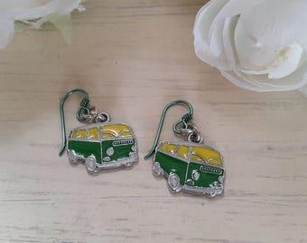 Green and Yellow VW Campervan, Camper van earrings on niobium wires
