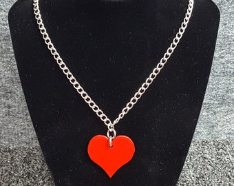 Little Red Heart Necklace, Valentines Day, Jewelry, Necklace, Chain, Gift for Her, Valentines Day Gift, Gift for Wife, Gift for Girlfriend