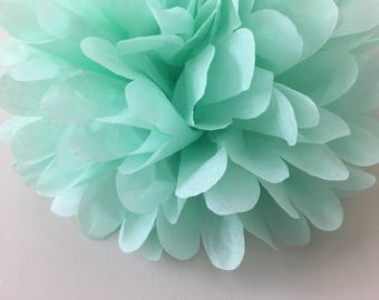 COOL MINT / 1 tissue paper pom pom / wedding decorations / birthday decor / bridal shower / nursery decor / baby shower/ tea party