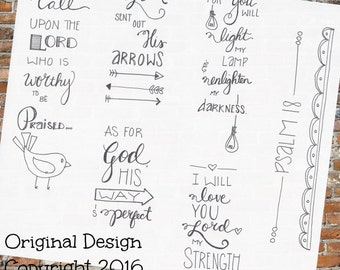 Bible Journaling:  Psalm 18 Printable Coloring Page