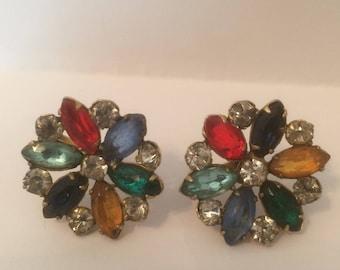 Cluster Fruit Salad Rhinestone Earrings