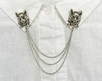 cat collar pins, collar brooch, collar clips, cat brooch, cat pin, cat jewelry, cat accessory, silver cat jewerly, collar pin with chains