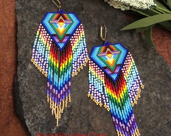 "Long Fringed Seed Beaded Earrings, Shoulder Dusters, Statement Earrings, Gypsy Style, Hippie Style, Delica Beaded, ""Dancing Barefoot"""