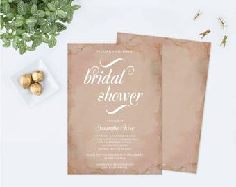 BRIDAL SHOWER Invitation Template PDF, Pink Invitation, Bridal Shower Invite Templates, Editable Invitation, Instant Download, Rustic Bridal